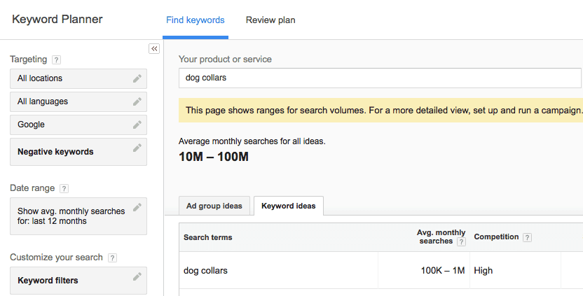 Choosing a Dropshipping Niche: Google Keyword Planner
