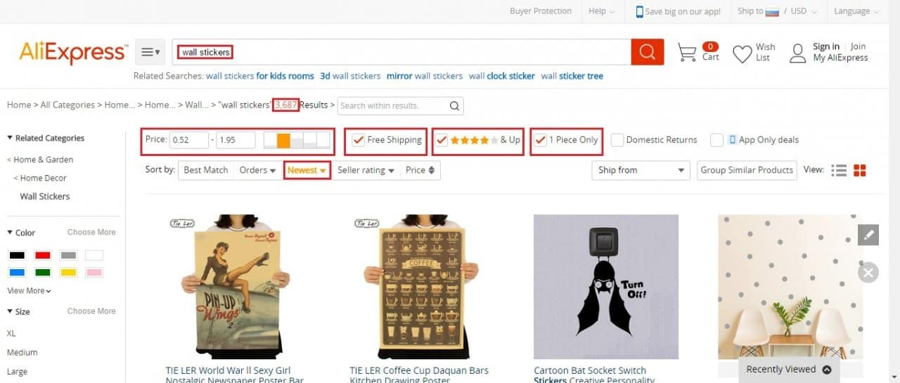 Sorting AliExpress search results by novelty.