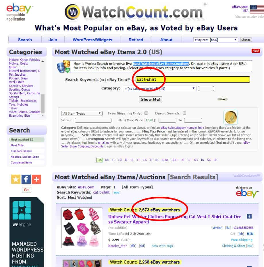 Screenshot of WatchCount where a user is searching for cat T-shirts