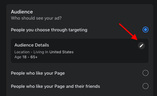 Edit FB audience for boosting