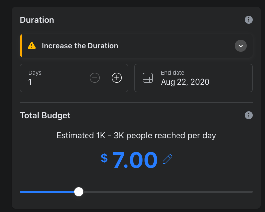 FB boost Duration