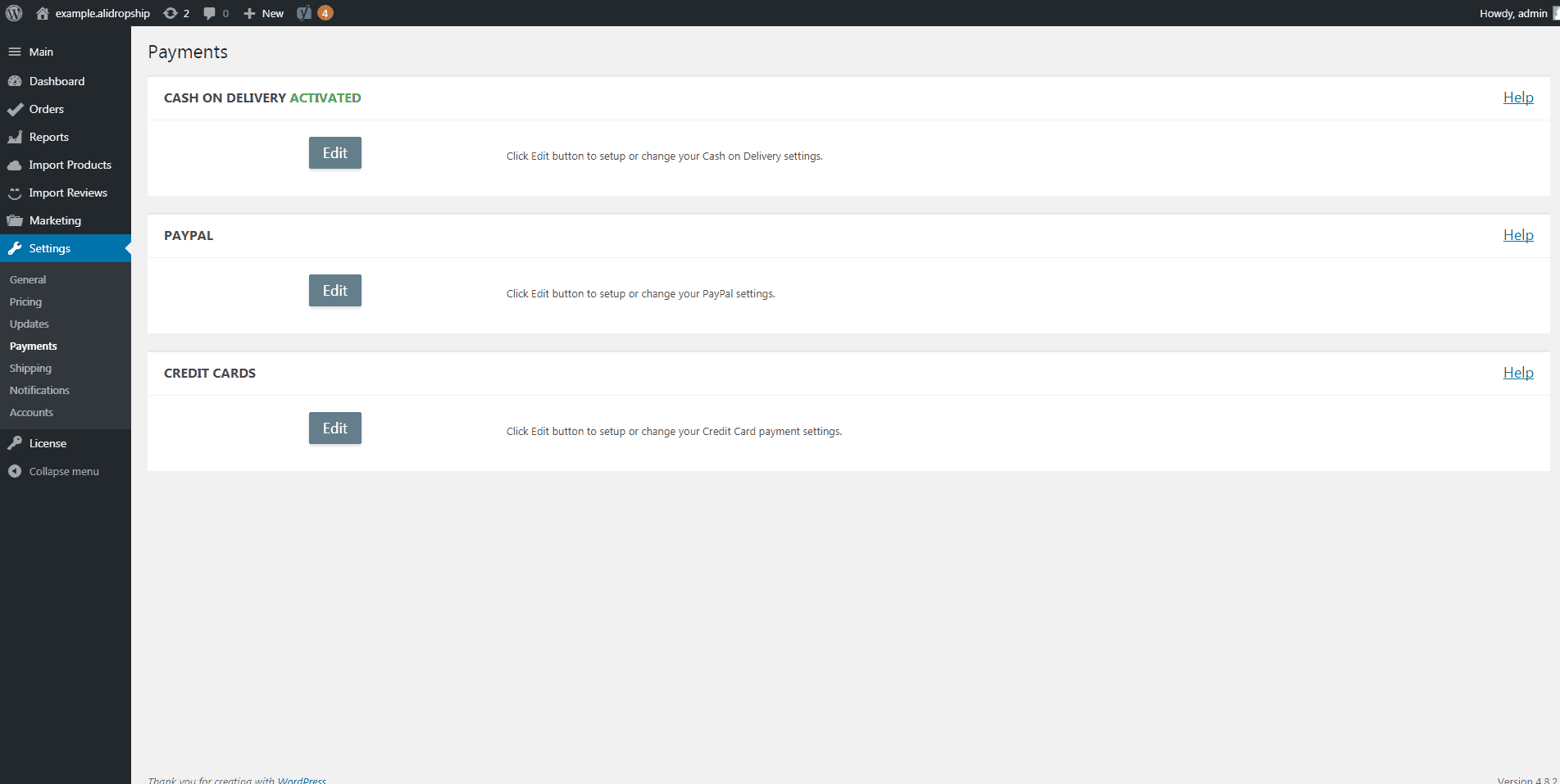 AliDropship plugin payment settings