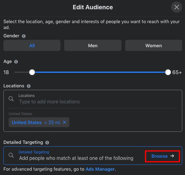 edit FB audience