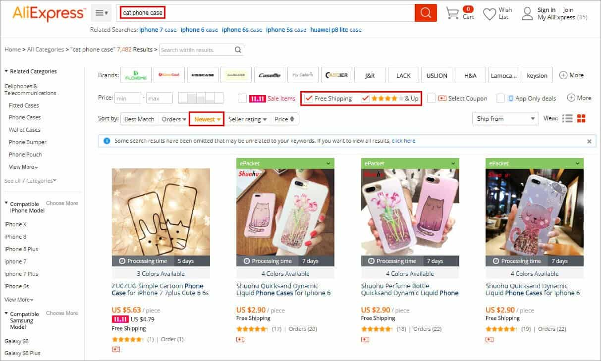 search product on Aliexpress for instagram