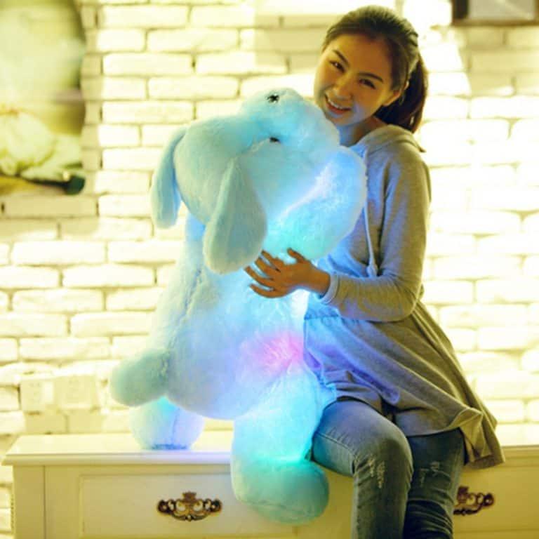 An Asian girl holding a cute luminous plush toy
