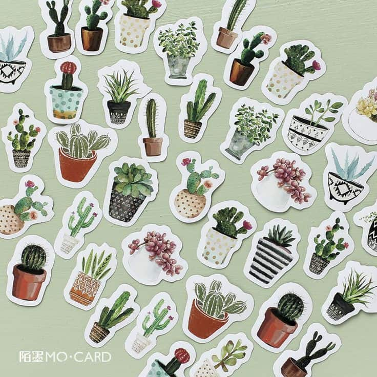 Screenshot of multiple green plant stickers