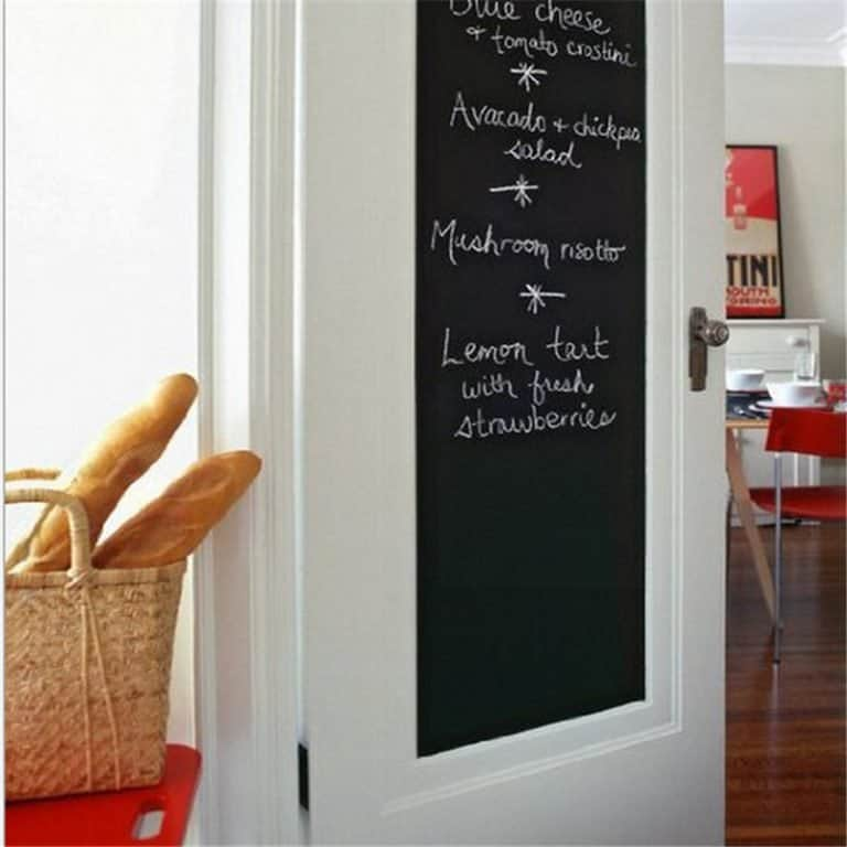 A door with a chalkboard sticker for cute messages