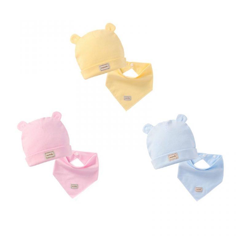 Yellow, pink and blue baby hat & bib sets to dropship in your online store
