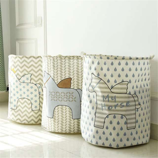 Three eco-style laundry baskets with the images of cute Pegasus