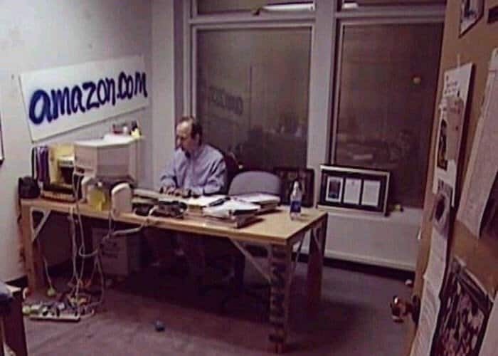 Jeff Bezos in his Amazon office in 1999.