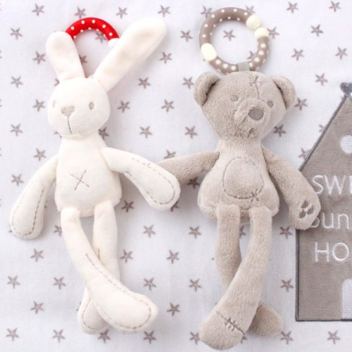 Screenshot of plush rabbit and bear toys holding hand: cute products to dropship