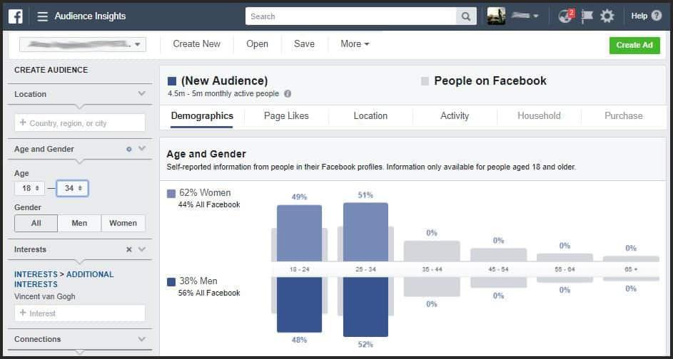 Vincent Van Gogh facebook target audience