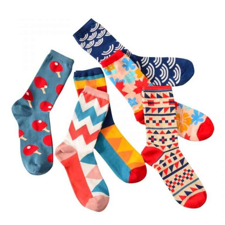 Six colorful unisex socks suitable for a dropshipping store selling cute products
