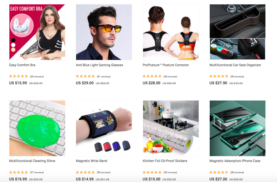 items in online store on WordPress