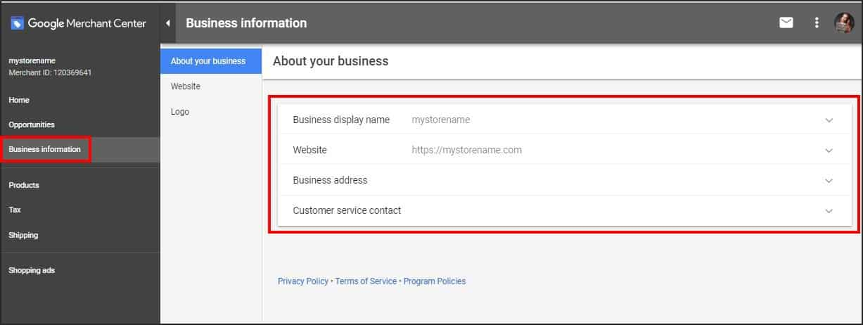 Verify website in Google Merchant