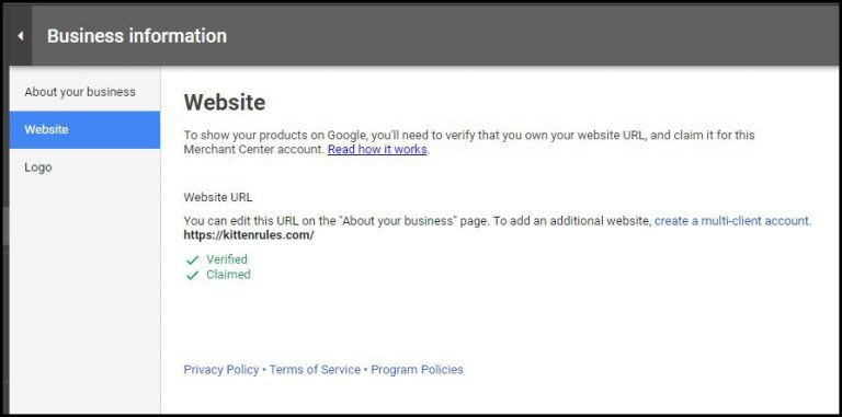 website verified and claimed by Google Merchant Center
