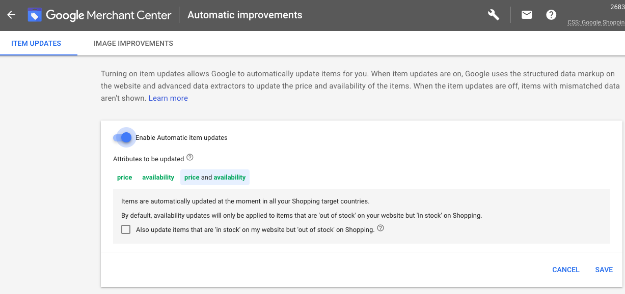 Google Shopping automatic item updates