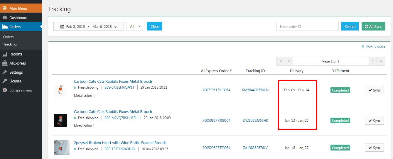 alidropship plugin tracking update