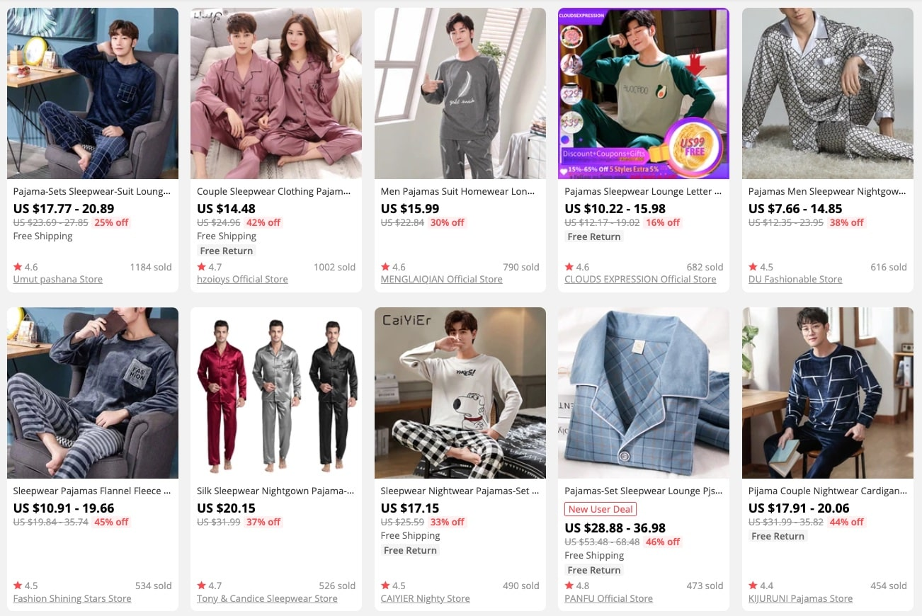 a picture showing how much men's pyjamas cost