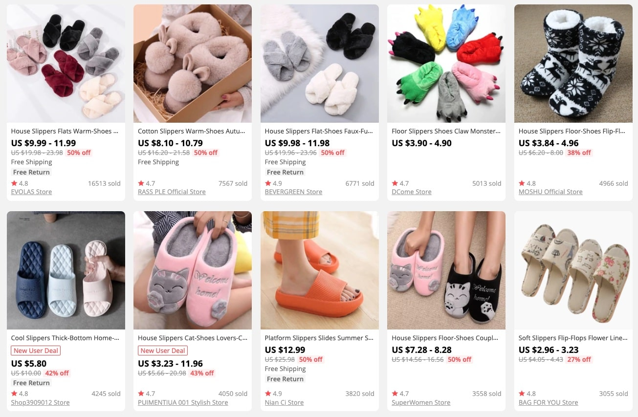 a picture showing why it's profitable to dropship slippers
