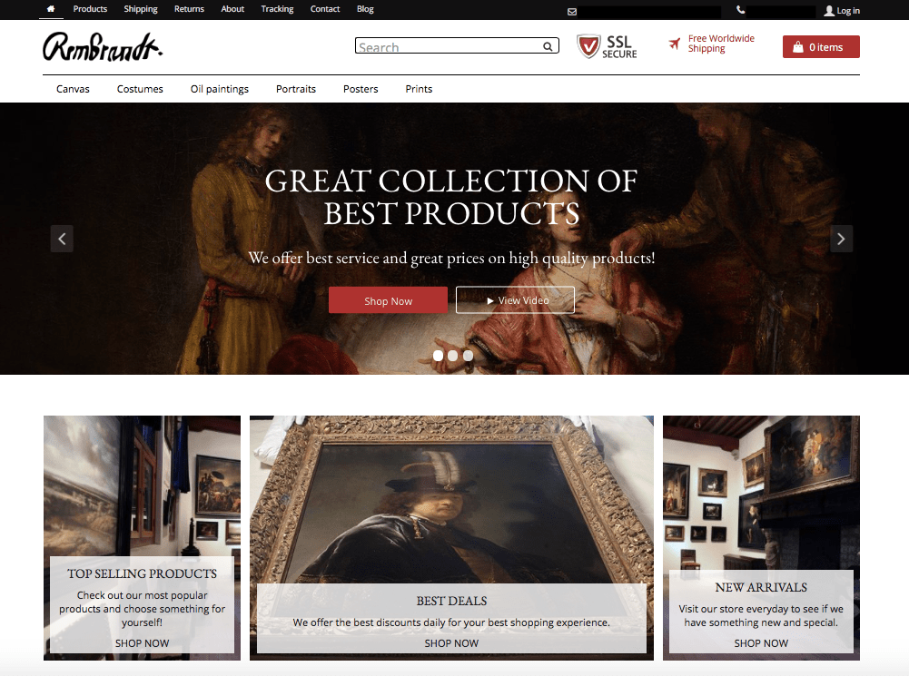 The Rembrant theme for AliDropship stores