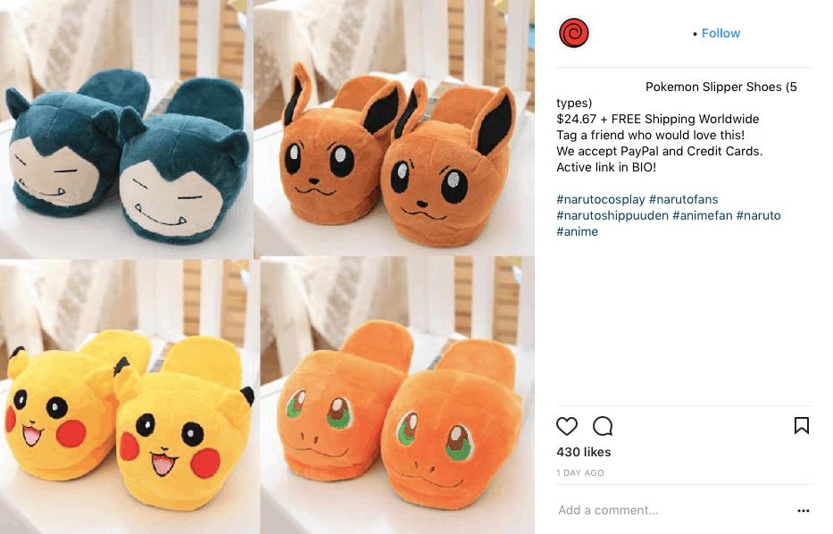 Cute pokemon slippers advertised on social media