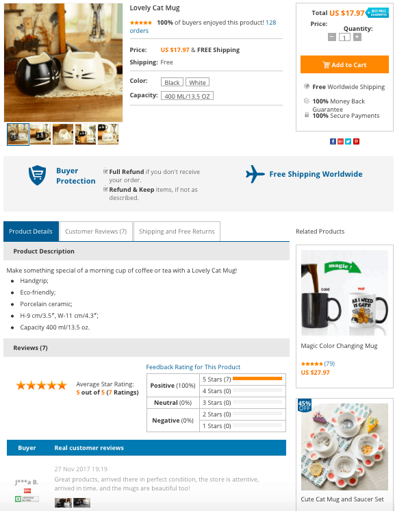 Product page design is extremely important for dropshipping stores