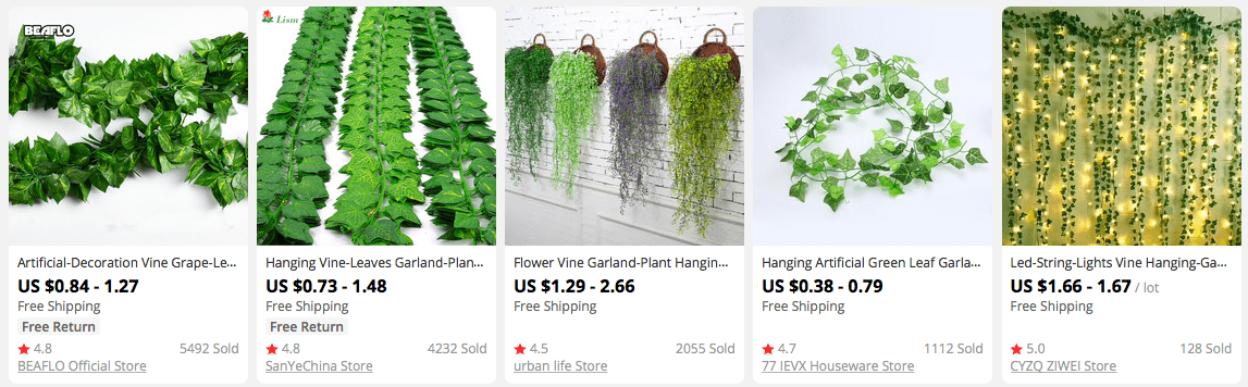 High Profit Margin Products: Decorative Vines