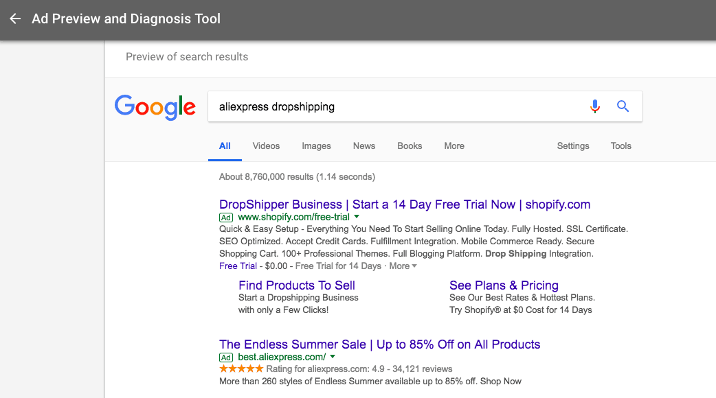 to improve your Google ads study the search results for your main keywords