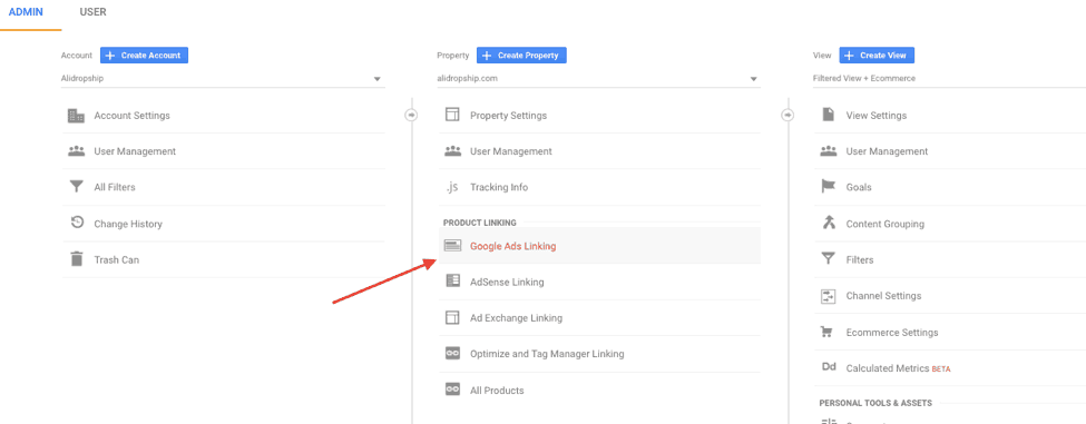 Google Ads Linking in Google Analytics