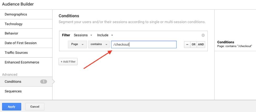 Audience for remarketing in Google Analytics: page visitors