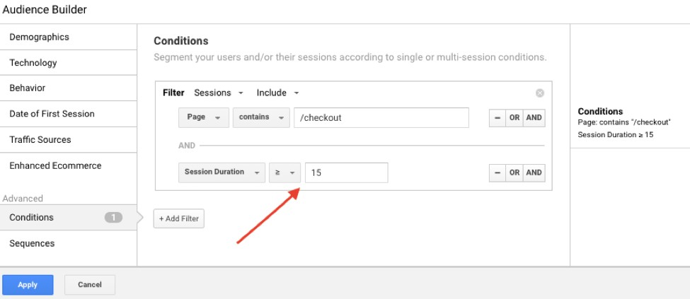 Audience for remarketing in Google Analytics: session duration