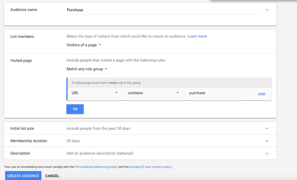 audience gor Google Ads remarketing based on website visitors