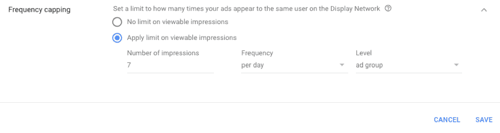Frequency capping in Google Ads