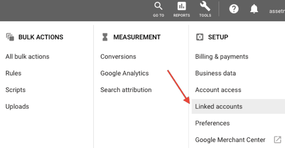 Linked accounts in Google Ads