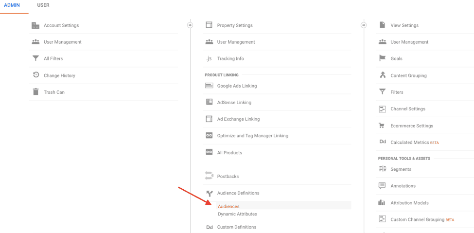 admin panel in Google Analytics > Audiences