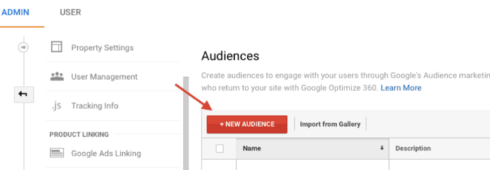 new audience for remarketing in Google Analytics