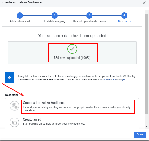 Create FB lookalike audience