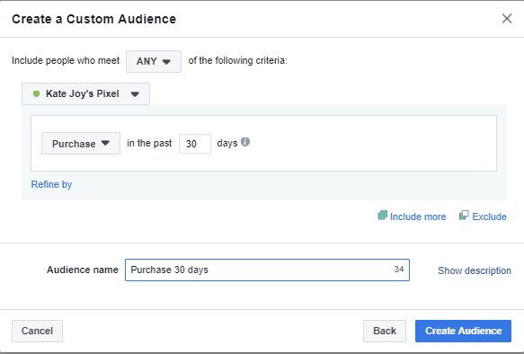 Creating Custom Audience