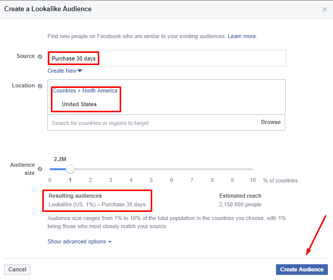 Creating Conversion Lookalike Audience on Facebook