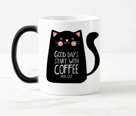 mug with a cat pattern