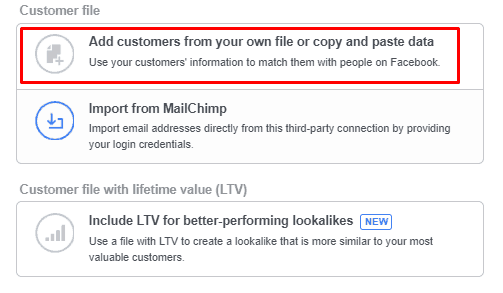 Custom Email FB Audience