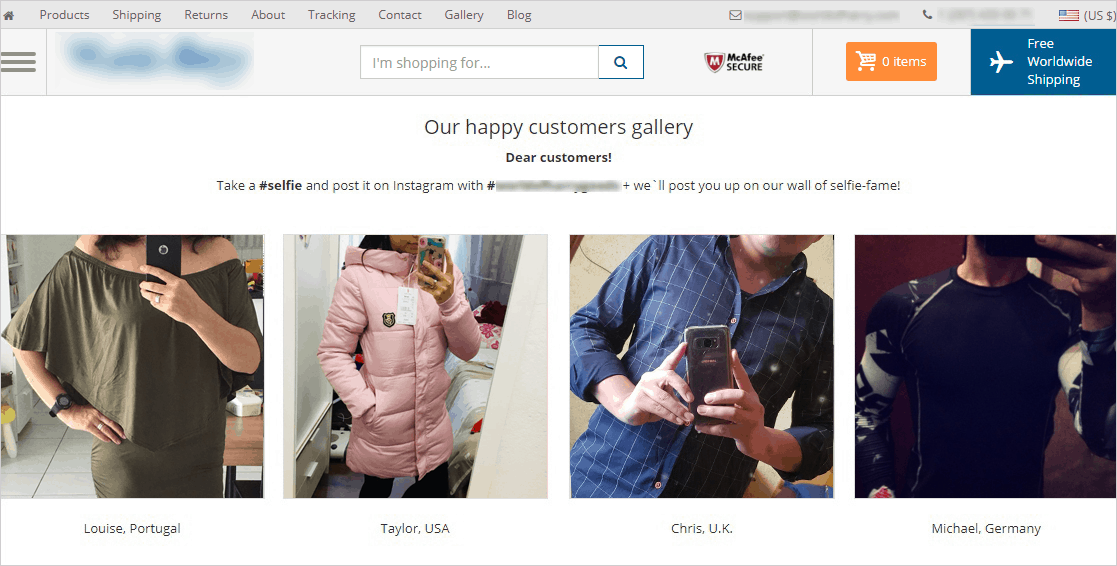Customers Gallery is an example of free dropshipping software creating social proof on your website
