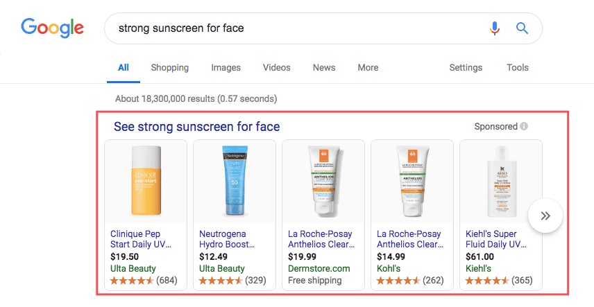 Google Shopping ads showing sunscreen for face.