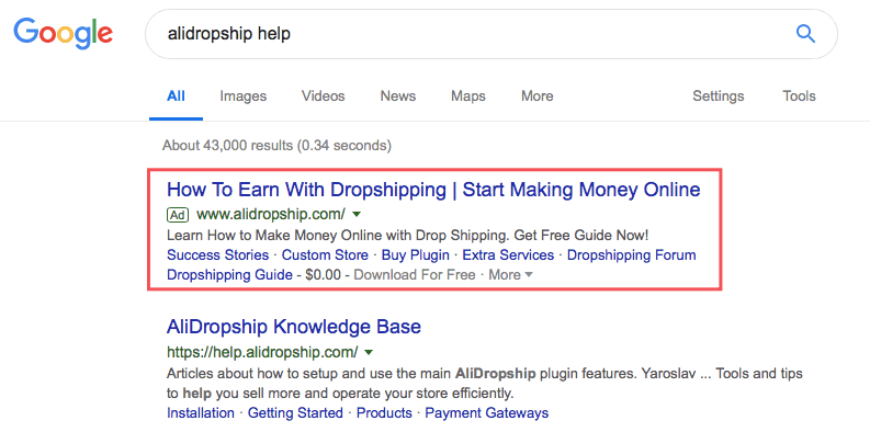 PPC ad on Google: example of how to drive traffic to your online store