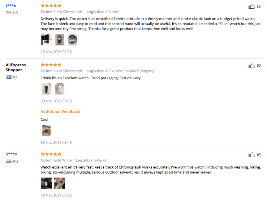 Customer reviews on AliExprerss containing customer-made photos of products