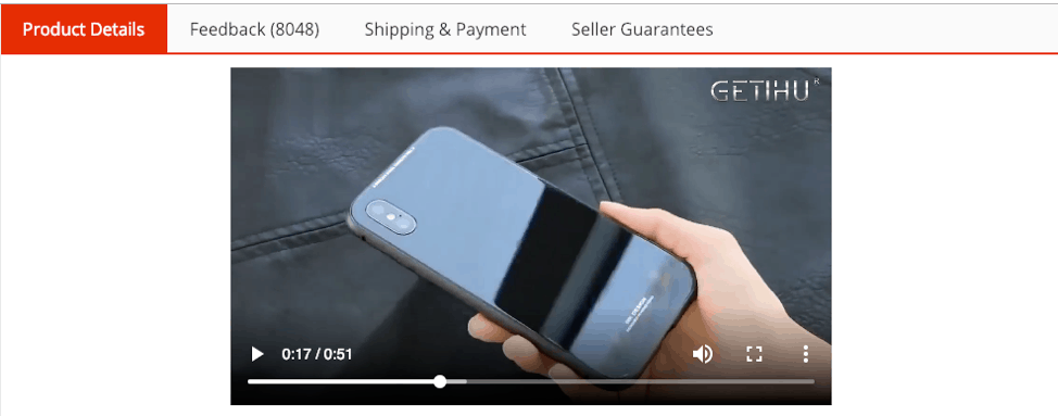 Screenshot of an AliExpress product featuring video materials