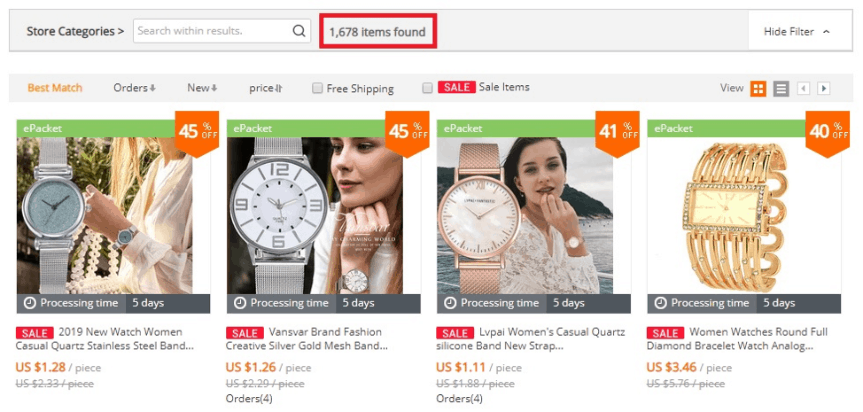 a picture showing how to find niche products on AliExpress
