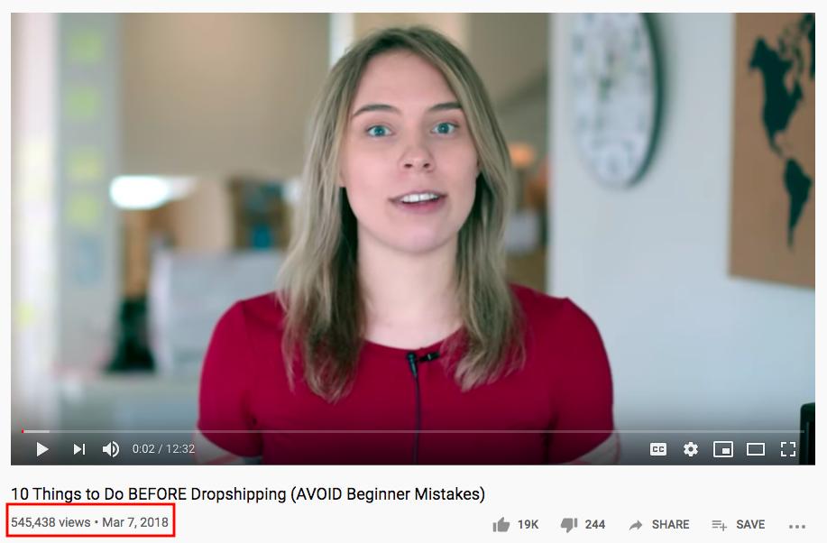 Number of views per video
