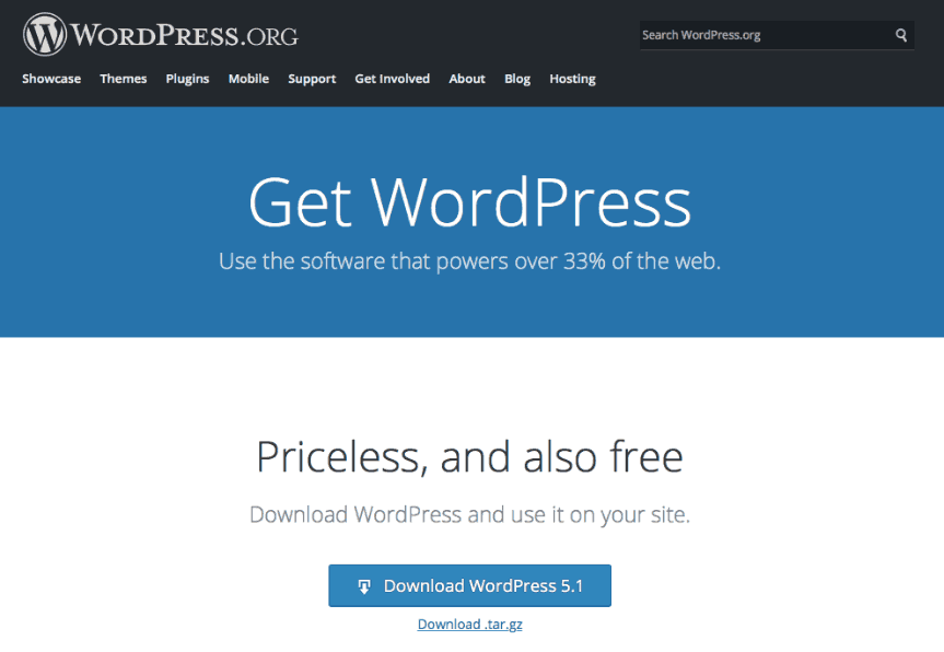 a screenshot of the WordPress website